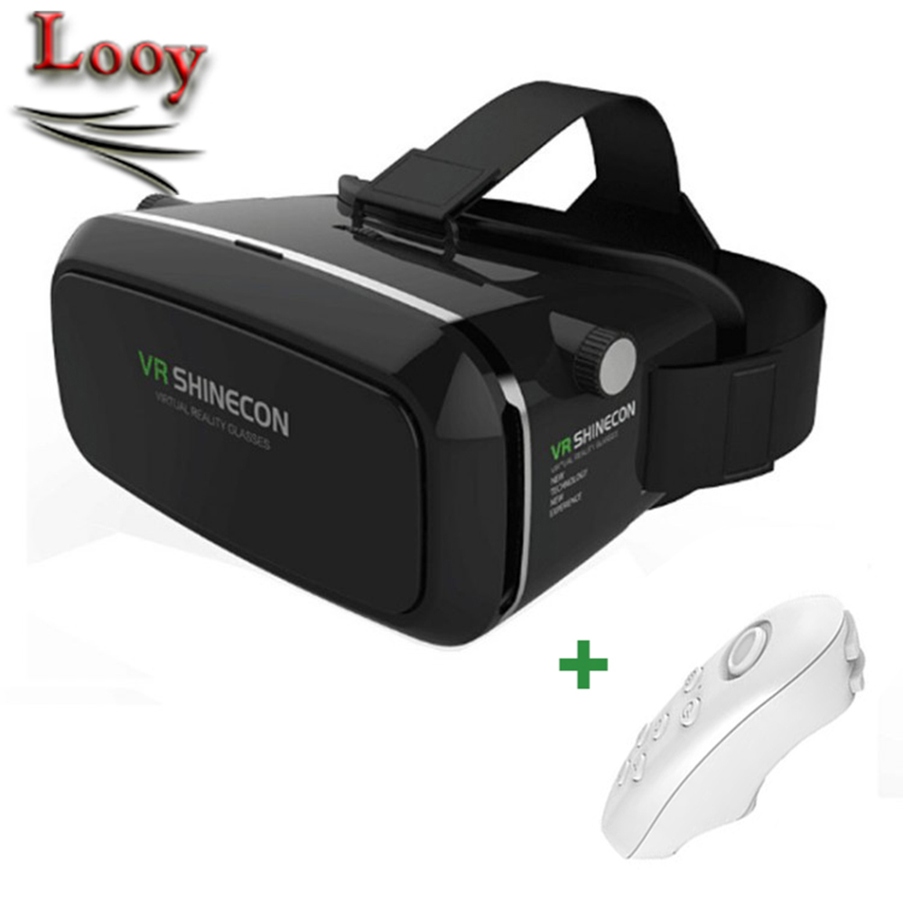 2016 Google Cardboard VR shinecon Pro Version VR Virtual Reality 3D Glasses +Smart Bluetooth Wireless Remote Control Gamepad(China (Mainland))