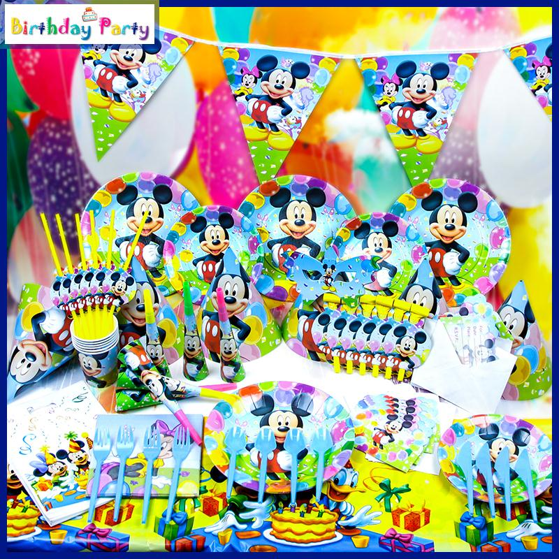 78pcs/lot Cartoon Mickey Mouse Party Decoration For Kids Birthday Party Setting Baby Shower Favors Quality Paper Set Supplies(China (Mainland))