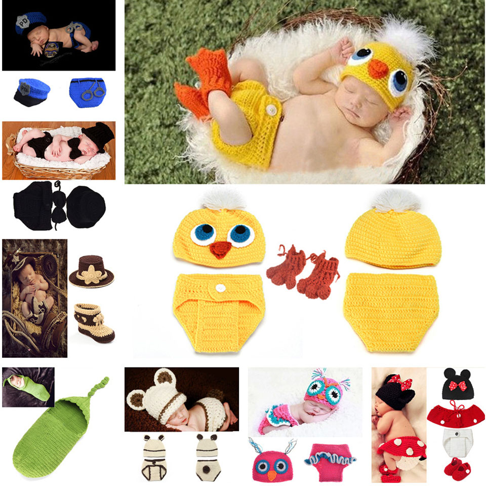 Lovely Duck design Crochet Baby Hat and Diaper Set Hand Knitted Infant Photo Props Moddelling Costume 0-6M 1set MZS-14035(China (Mainland))