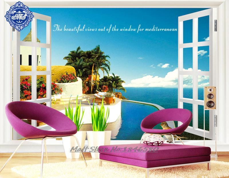 Beautiful sea beach view fake window wall sticker home Beautiful wall stickers for living room
