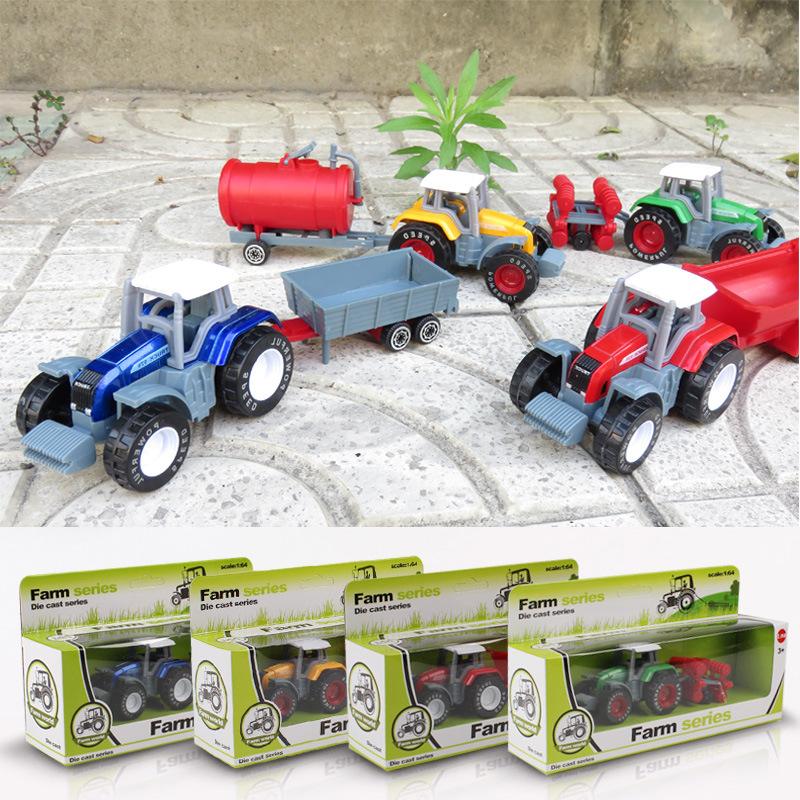 1:64 Children's Toys Farmer Farm Tractor Planting Machine Sprinkler Inertia Model Engineering Car Set 4color random(China (Mainland))