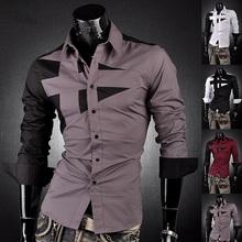 2016 New Arrival Mens Hot Sale Famous Design Business Cotton Sliming Suit Dress Shirt Best Quality 7 Colors 5 Sizes 8397(China (Mainland))