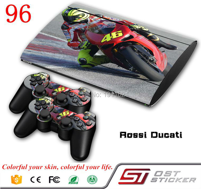 Motorcycle racing Skin sticker for ps3 super slim and 2 controller protective skin(China (Mainland))