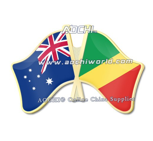 Best Selling High Quality Mix and Match Australia and Congo Crossed Flags Lapel Pins(China (Mainland))