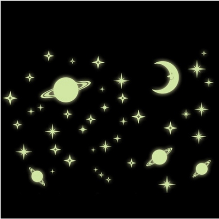 Stars Luminous Stickers Romantic PVC home decor wall stickers space planet moon stars glow in the dark stickers for kids room(China (Mainland))