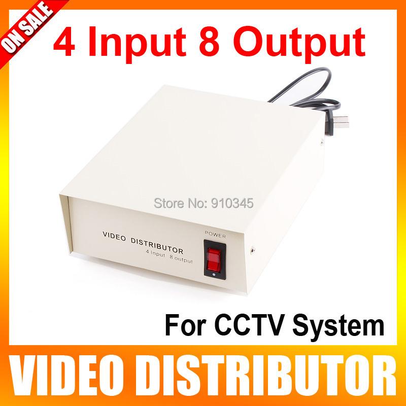 4 Input 8 Output CCTV Video Distributor Video Signal Distributor with BNC/AV Connector(China (Mainland))