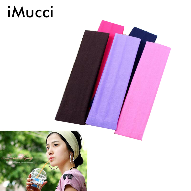 iMucci Dancing Elastic Headband 12PCS Sports Yo Ga Accessory Dance Headband Stretch Ribbon Cotton Hairband Colorful Black(China (Mainland))