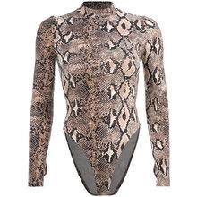 Sexy de manga larga con estampado de serpiente de primavera otoño bodycon una pieza cuerpo Bodi para mujer mujeres órganos damas 2019 de moda traje de cuerpo(China)