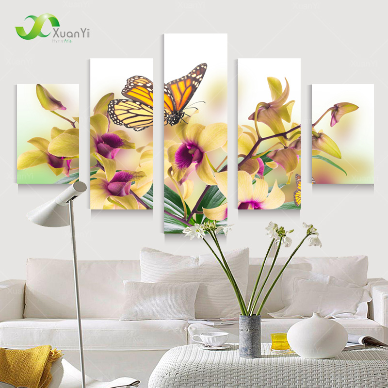 5 Panel Large Modern Flower Butterfly Canvas Oil Painting Cuadros Wall Art Picture For Living Room Printed Unframed PF922(China (Mainland))