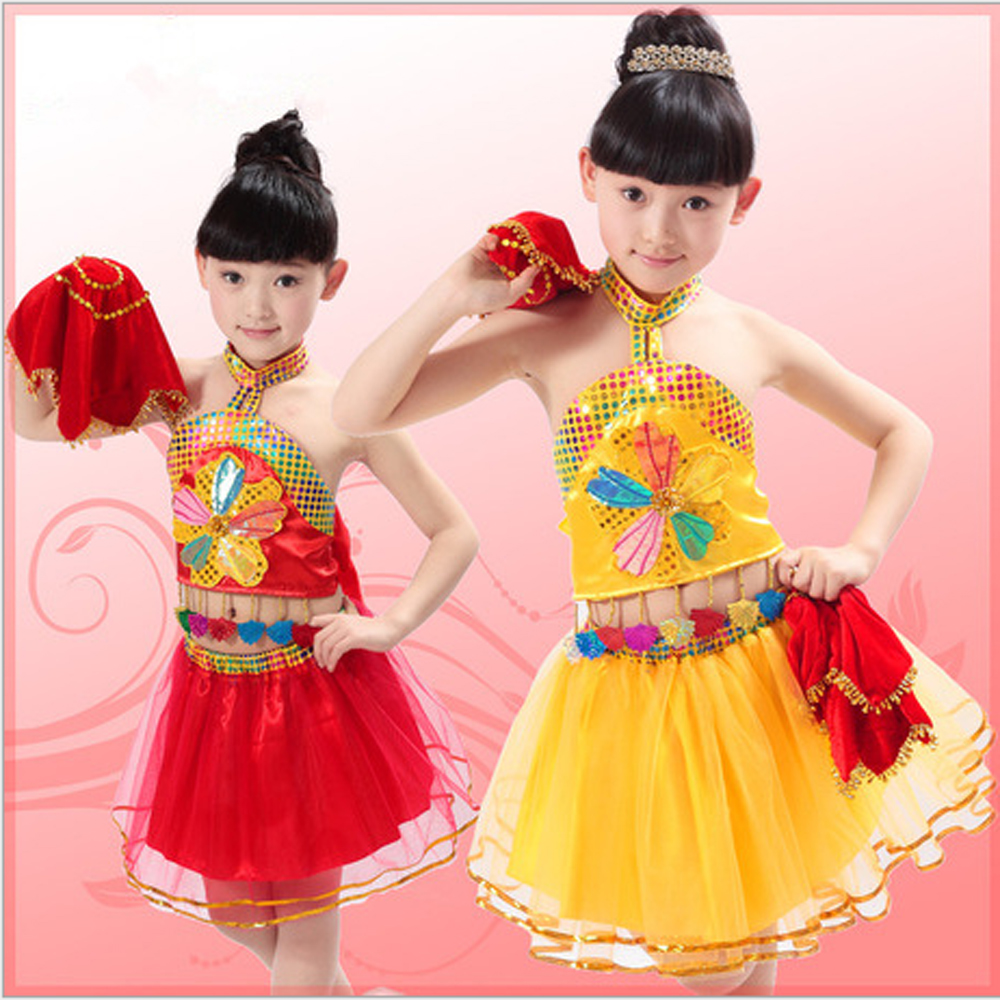 Children Chinese folk dance costumes dancing clothes girls handkerchief skirt stage performance apparel - Performance Clothing store