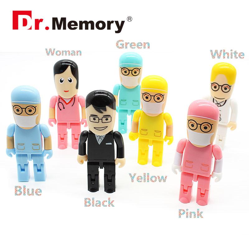 Doctor nurse model usb flash drive 64gb 32gb 16gb 8gb pen drive memory storage usb stick