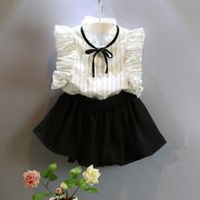 Girls clothing sets 2016 new summer style kids clothes girls sleeveless striped shirts + black skirt toddler girl clothing(China (Mainland))
