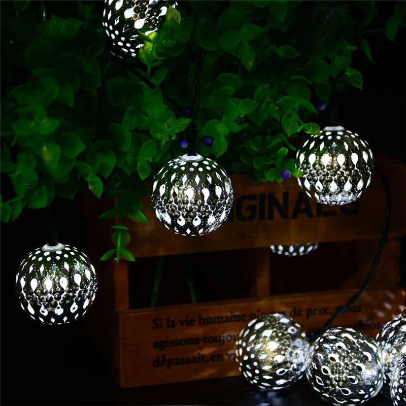 Metal Globe String Lights : New Arrive 10LED 11ft Solar Powered Fairy Moroccan Lantern Silver Metal Globe String Light For ...