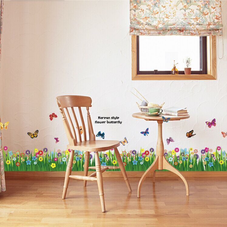 Warm Romantic Small Size Green Grassland Skirting Line Diy Removable Wall Stickers Wall Decal
