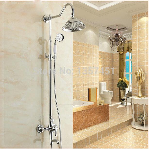 "Chrome Polished Bath Shower Faucet Set Mixer Tap 8"" Rain Shower Head + Hand Spray wall bathroom faucet(China (Mainland))"