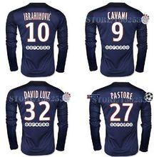 Free patch SILVA CABAYE IBRAHIMOVIC Long sleeve Soccer Jersey 2015 2016 thai quality DAVID LUIZ Jersey CAVANI football shirts(China (Mainland))