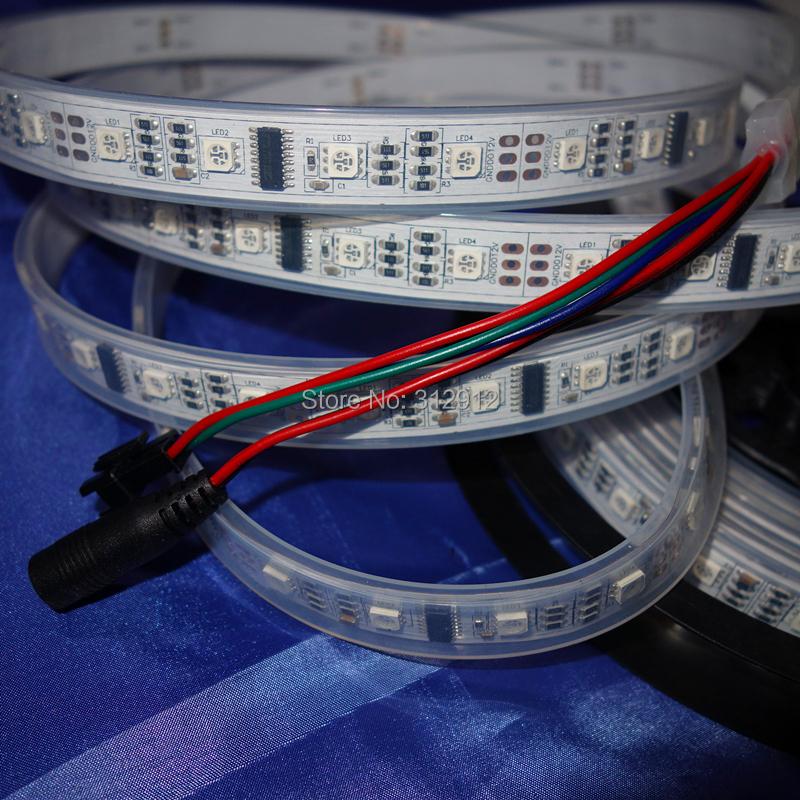 5M TM1812 160LEDs(32leds/m) addressable LED pixel strip;160pixels;IP66;DC12V input;waterproof by silicon tube<br><br>Aliexpress