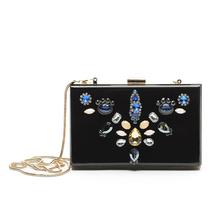 Luxury Blue Diamond Flower Acrylic Evening Bag