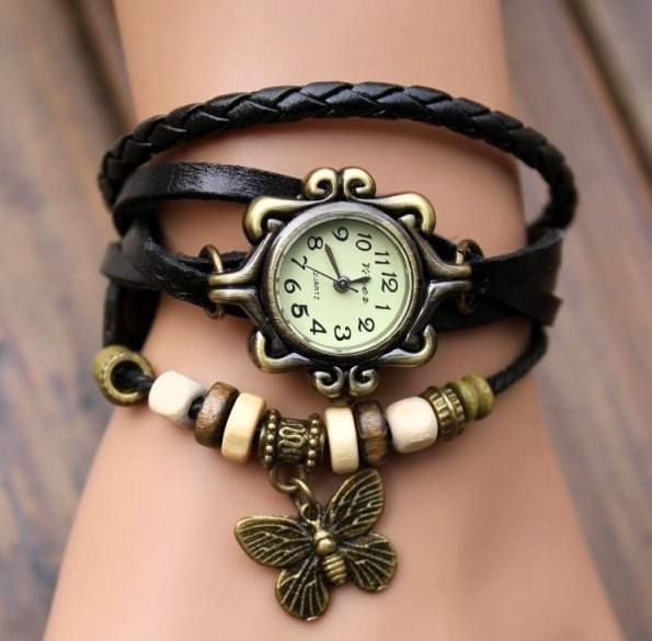 Retro Quartz Fashion Weave Wrap Around Leather Bracelet Bangle Womens Butterfly Black Girl Watch - Greensun Online Sale store