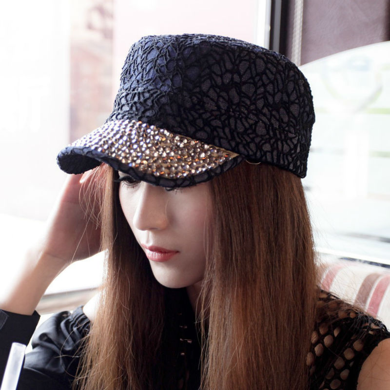 HOT Free Shipping Military Cap unisex Denim Hat adult baseball cap for woman Lace Rhinestone Korean Fashion 7 colors Retail B121(China (Mainland))