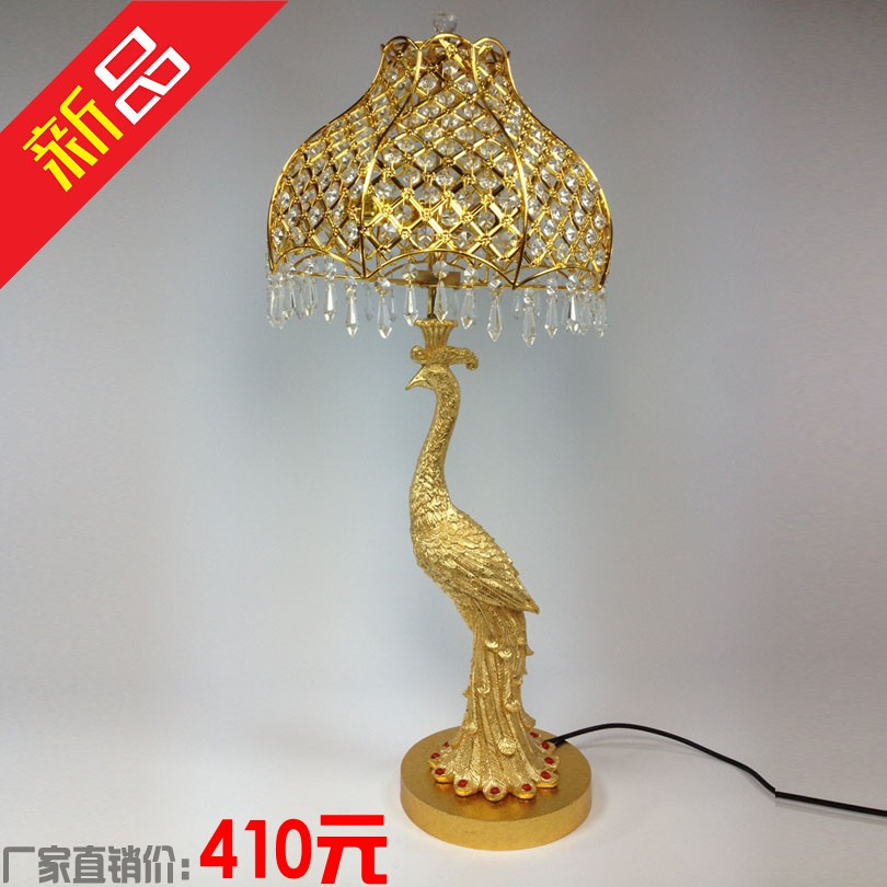 Luxury fashion crystal peacock table lamp hanging bead ofhead quality lamps yellow crystal lamp()