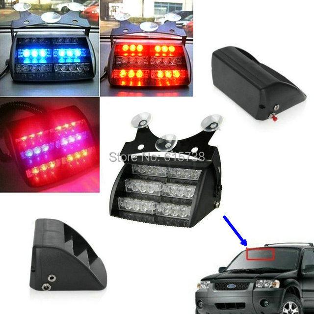 18 LED Flashing strobe lamps bulbs red blue car vehicle auto truck warning Light emergency 3 flash modes warn lights(China (Mainland))