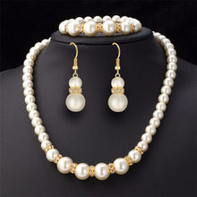 African Beads Jewelry Set Simulated-Pearl Necklace Bracelet Earrings Women Jewelry Sets Inlay CZ Bride Set Wholesale Free Gifts(China)
