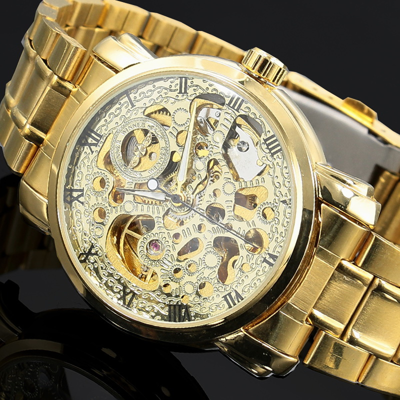 50pcs/lot,2016 New Gold Watches WINNER Luxury Brand Mens Fashion Automatic Hollow Out Man Mechanical Watches military<br><br>Aliexpress