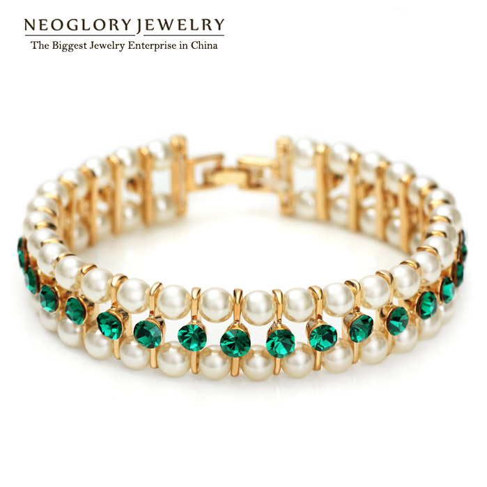 Neoglory Fashion Rhinestone Simulated <font><b>Pearl</b></font> <font><b>Bead</b></font> <font><b>Bracelets</b></font> Bangles for Women Brand Charm Jewelry 2016 New Pea Greenp