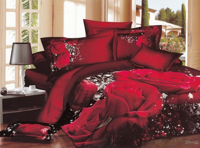 Hot Fashion New  Beautiful 100% Cotton 4pc Doona Duvet QUILT Cover Set bedding set Queen/  King size black Red rose