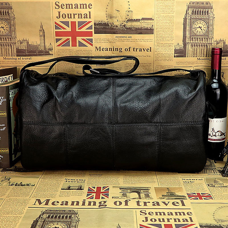 Cylinder Shape Genuine Cowhide Black Leather Men's Travel Bags Duffel Handbag # PR055885(China (Mainland))