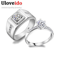 49% off Couple Rings Silver for Men and Women Lovers' Wedding Anillos CZ Diamond Jewelry Fashion Crystal Ring Bague Femme J473(China (Mainland))