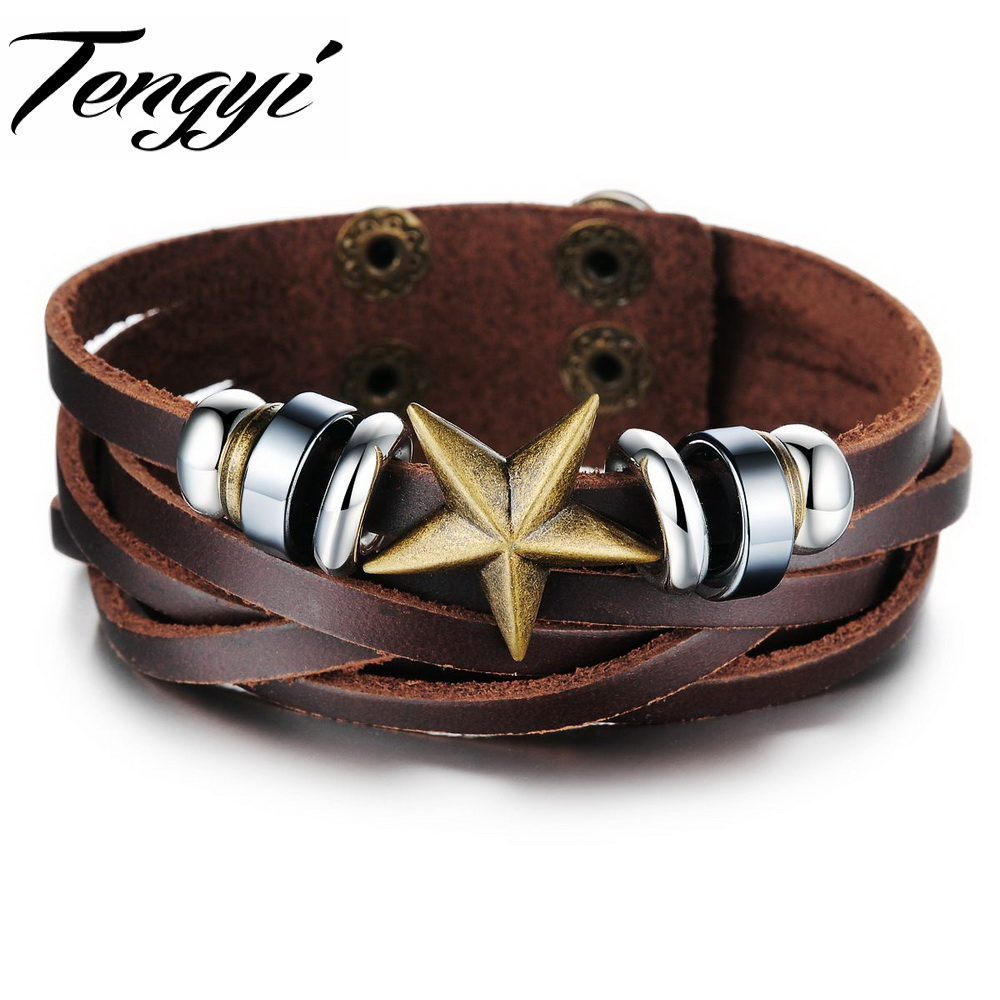 Vintage Mens Jewelry Real leather quality Bracelet star bangle Charm French Punk Style 827 - Fashion Tengyi store