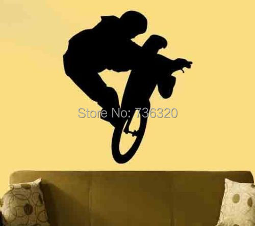 Boy Bicycle Vinyl Wall Decal Giant BMX Bike Removable Bar Home Decoration Kid's Room Bedroom Decorative Art Sticker - 365DAYS SWEET HOME (HOME Artist-Vicky Li store)