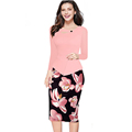 2016 New Arrival Print Floral Dresses Big Size Solid Patchwork Button Casual Work Bodycon Office Dress