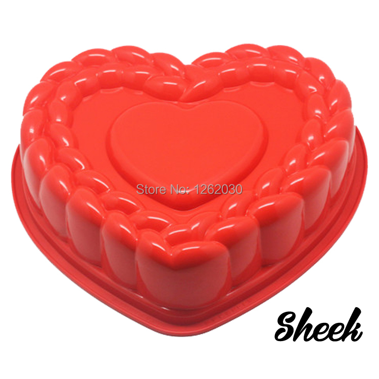 """11"""" High quality silicone birthday cake mould / large heart cake mould Free shipping!!!(China (Mainland))"""