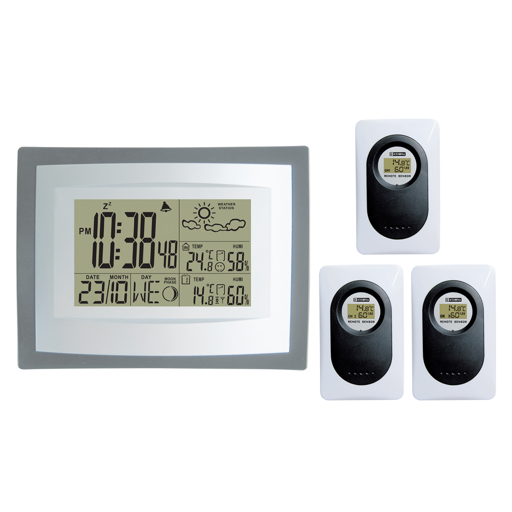 433MHz RF RCC Wireless Weather Station Digital Weather Forecast Clock with Indoor Outdoor Temperature Humidity 3 Transmitters