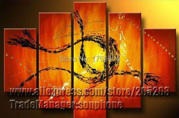 5 Panel High End Large Wall Artwork Red and Orange Oil Painting on Canvas 5 Piece Canvas Art Picture(China (Mainland))