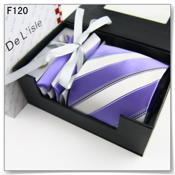 New year gift purple stripe south korean silk male formal tie cufflinks handkerchief exquisite gift set