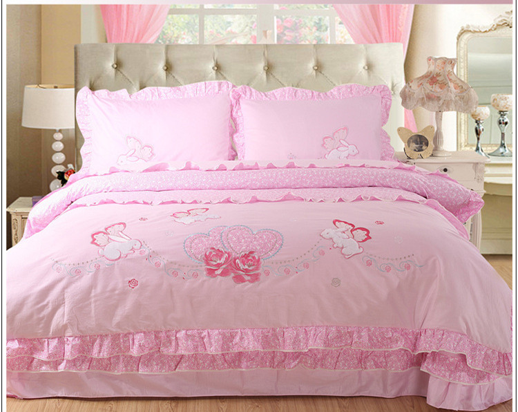 Home Textile Birthday Gift animal rabbit bedding for kids children girls comforter Cover Sets 4pcs bedding Set child bedroom set(China (Mainland))