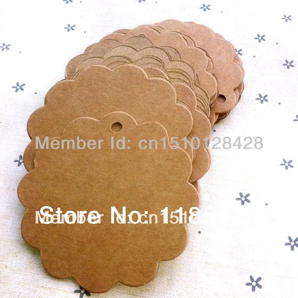 Dia 6cm 50 Round Flower shape/Gift Hang tag Vintage DIY Multifunction Kraft Paper Blank Ivory board - LAN Gift Packaging & Printing store