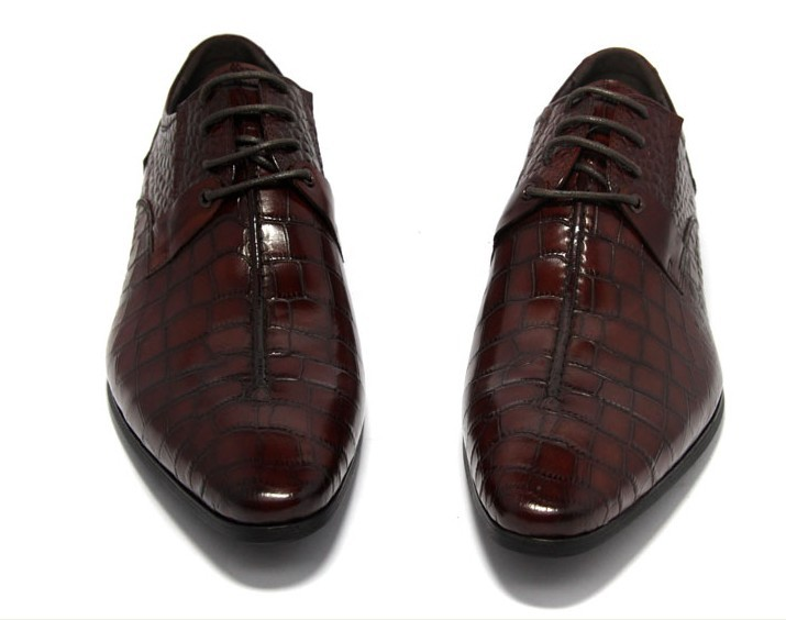 Фотография Crocodile Grain black / wine red mens dress shoes genuine leather pointed toe business shoes mens wedding shoes formal oxfords