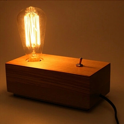 Vintage Table Lamp Edison Bulb Personalized Wood Table Light Dimmable Desk Lamp AC 90-260V Free Shipping(China (Mainland))