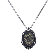 Women's Fashion Jewelry Black Morbid Rose Goth Pendant Necklace for Women Victorian Steampunk Cameo Domino Vintage Men Necklaces