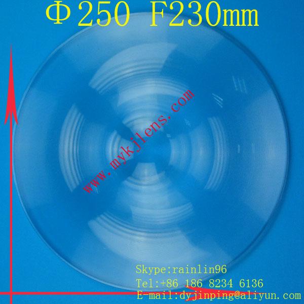 Diameter 250 focal length230mm Fresnel lens stage lighting condenser lens thread,magnify lens,traffic light fresnel lens