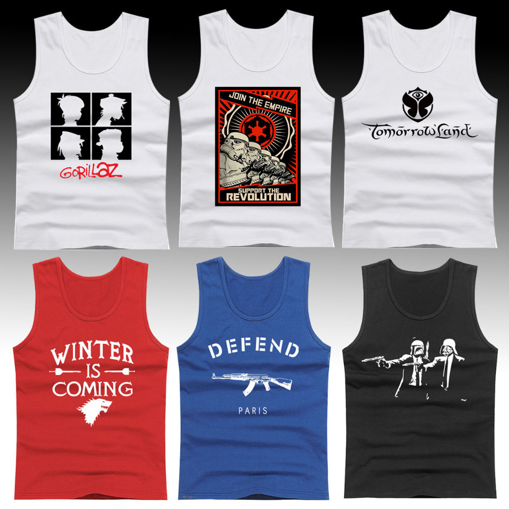 Fashion Design Star Wars/Defend Paris AK47 Cool Men Tank Tops Winter is Coming Games of Thrones Male Sleeveless Shirt Vests Sale(China (Mainland))