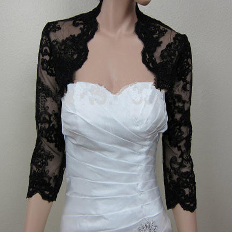 Evening dresses coat bridal jackets capes 3 4 long sleeves for Black lace jacket for wedding dress
