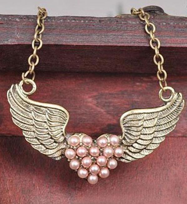 Fashion Vintage Pearl Angel Wing Pendant Necklace Retro Heart Chain Women Jewelry Gift Colar Femininos Bijuterias - Magic Box store