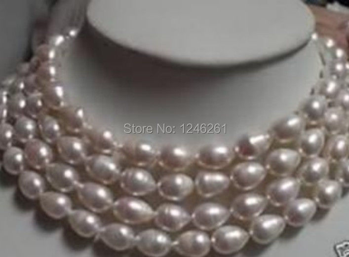Lengthen 9-10mm White Rice Cultured Akoya Pearl Necklace Beads Jewelry Making Natural Stone Rope Chain 48inch(Minimum Order1)(China (Mainland))