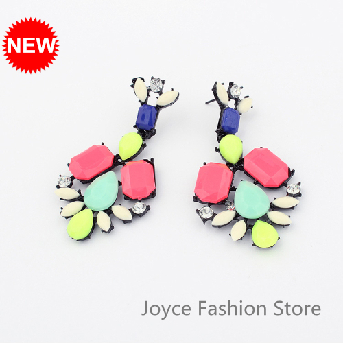 Min Order $10,2013 Fashion Designer Jewelry,Vintage Hit Color Geometry Rhinestone Acrylic Earring,Accessories for Woman,E46